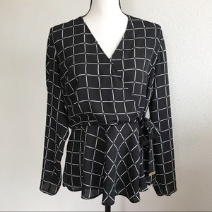 Michael Kors black side tie long sleeve blouse M